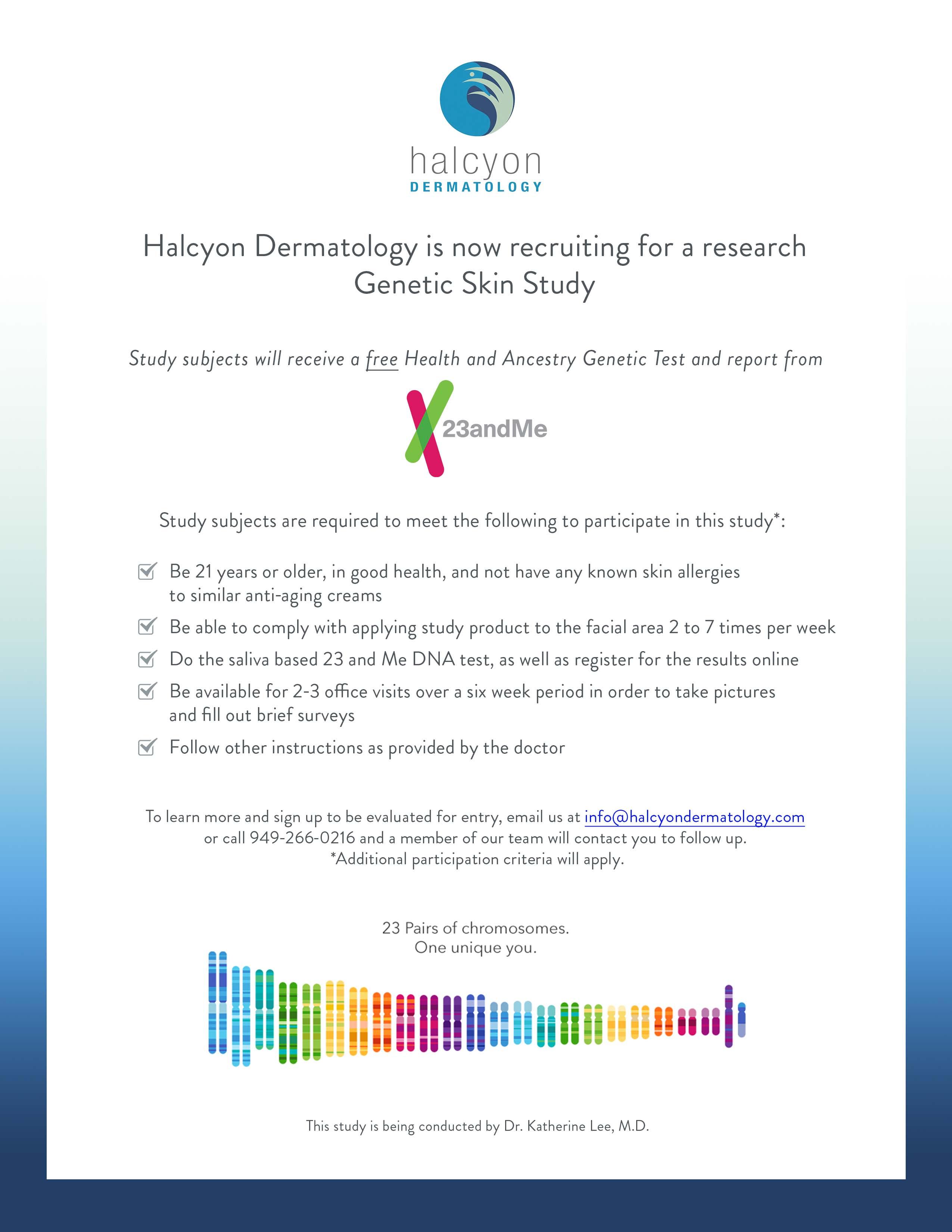 Halcyon Dermatology Genetic Skin Study